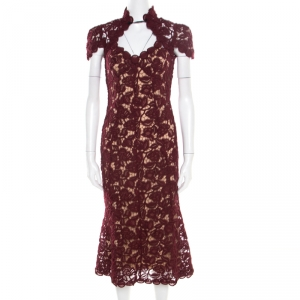 Marc Jacobs Burgundy Rose Guipure Lace Cap Sleeve Midi Dress S