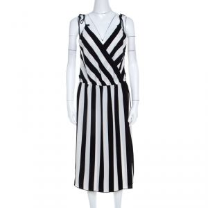 Marc Jacobs Monochrome Striped Crepe Faux Wrap Midi Dress M - used