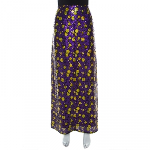 Marc Jacobs Purple Sequin Embellished Silk Maxi Skirt L