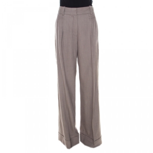 Marc Jacobs Pinstriped Stretch Wool High Waist Flared Trousers M
