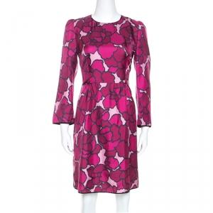 Marc Jacob Pink Floral Printed Silk Paneled Detail Midi Dress M - used