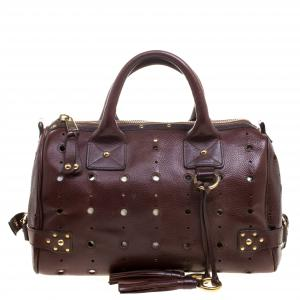 Marc Jacobs Brown Perforated Leather Satchel