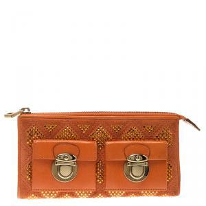 Marc Jacobs Orange Quilted Leather Crystal Embellished Double Pocket Zip Wallet