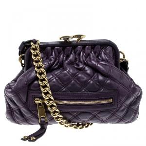 Marc Jacobs Purple Leather Mini Stam Shoulder Bag