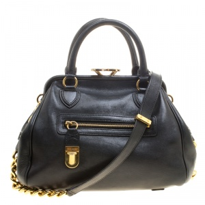 Marc Jacobs Black Leather Stam Satchel
