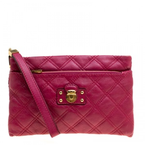 Marc Jacobs Red Quilted Leather Wristlet Clutch