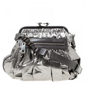 Marc Jacobs Metallic Grey Coated Canvas Parachute Little Stam Bag
