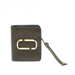 Marc Jacobs Olive Green Leather Snapshot Compact Wallet