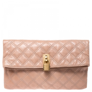 Marc Jacobs Beige Quilted Leather Eugenie Clutch
