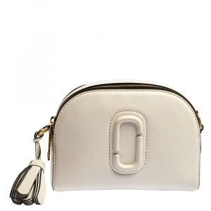 Marc Jacobs White Leather Small Shutter Camera Shoulder Bag