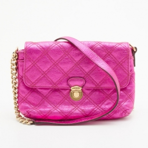 Marc Jacobs Metallic Pink Quilted Clutch
