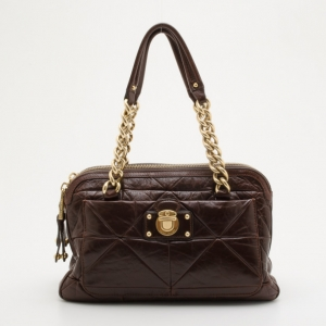 Marc Jacobs Brown Quilted Satchel