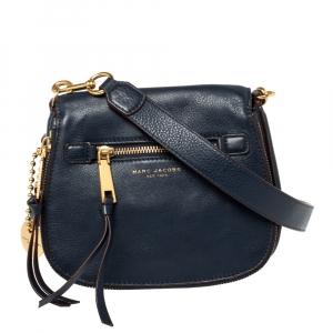 Marc Jacobs Navy Blue Leather Small Recruit Saddle Shoulder Bag