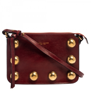 Marc Jacobs Dark Red Leather Studded Crossbody Bag