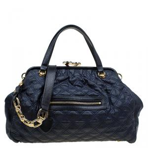 Marc Jacobs Dark Blue Quilted Coated Canvas Stam Satchel