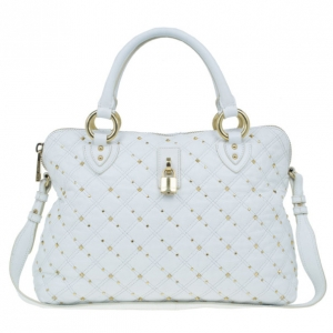 Marc Jacobs White Leather Large Rio Stardust Studded Satchel