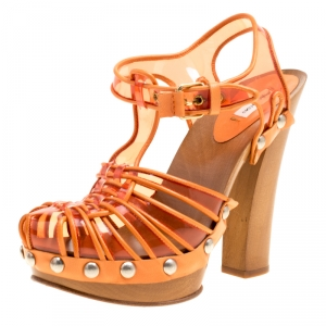 Marc Jacobs Orange PVC And Leather T-Strap Clog Sandals Size 35 - used