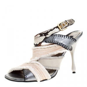 Marc Jacobs Multicolor Canvas, Leather And Python Slingback Sandals Size 40 - used