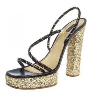 Marc Jacobs Black/Gold Leather And Glitter Fabric Slingback Platform Sandals Size 40 - used