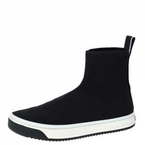 Marc Jacobs Black Knit Fabric Dart High Top Slip On Sneakers Size 40