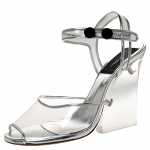 Marc Jacobs Silver PVC and Leather Plexiglass Heel Sandals Size 35 - used