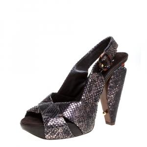 Marc Jacobs Black/Bronze Snakeskin Platform Sandals Size 38