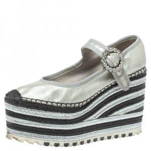 حذاء إسبادريلز مارك جاكوبس نعل سميك سوزى مارى جين زخرفة كريستال جلد فضى ميتالك مقاس 36