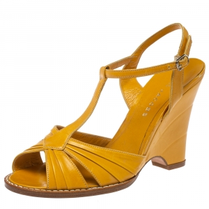 Marc Jacobs Mustard Leather Ankle Strap Wedge Sandals Size 38
