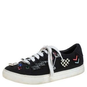 Marc Jacobs Black Canvas Patches And Embellished Low Top Sneakers Size 39 - used