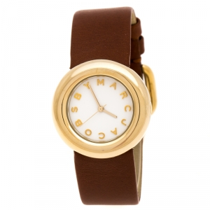 Marc By Marc Jacobs White Yellow Gold Plated MBM8520 Women's Wristwatch 33 mm