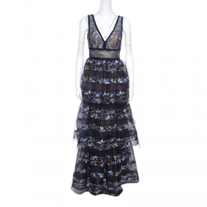 Marchesa Notte Blue Tiered Floral and Butterfly Embroidered Evening Gown XS