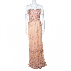 Marchesa Notte Peach Floral Embroidered Sequin Embellished Detail Strapless Evening Gown M