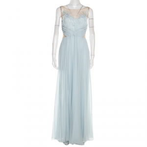 Marchesa Notte Blue Embellished Embroidered Silk Sheer Panel Detail Gown L