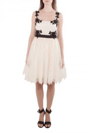 Marchesa Notte Cream Floral Lace Embellished Applique Detail Scoop Neck Sleeveless Dress M