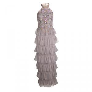 Marchesa Notte Purple Embellished Halter Neck Tiered Gown S
