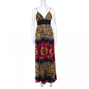 Marchesa Notte Multicolor Ikkat Printed Silk Embellished Sleeveless Maxi Gown S used