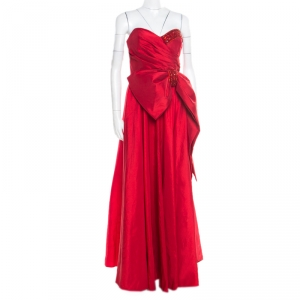Marchesa Notte Red Embellished Trim Bow detail Strapless Gown M used