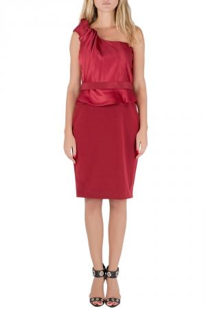 Marchesa Notte Maroon Rosette Draped Silk One Shoulder Peplum Dress M used