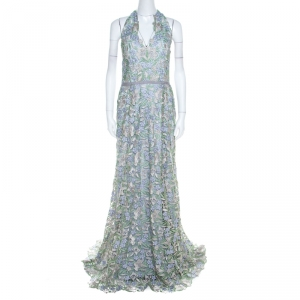 Marchesa Notte Pale Blue Guipure Floral Lace Overlay Halter Gown L
