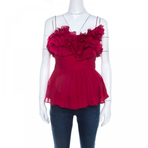Notte By Marchesa Burgundy Silk Ruffled Tank Top M
