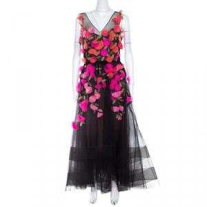 Marchesa Notte Black Tulle Sleeveless 3D Floral High Low Gown M