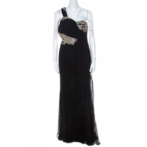 Marchesa Black Silk Embellished Bodice Evening Gown M - used