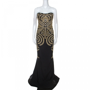 Marchesa Black Embellished Silk Slub Strapless Gown L used