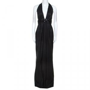 Marchesa Notte Black Silk Embellished Waist Halterneck Evening Gown M - used
