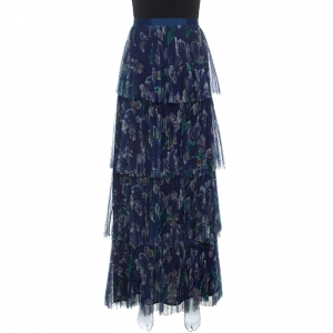 Marchesa Voyage Iris Blue Printed Tulle Pleated Column Skirt M