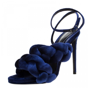 Marco de vincenzo Blue Velvet Braided Ankle Strap Sandals Size 40.5