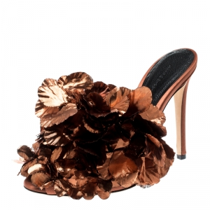 Marco De Vincenzo Metallic Bronze Silk Flower And Satin Open Toe Mules Size 36