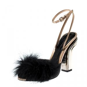 Marco De Vincenzo Black Feathers Embellished Ankle Strap Sandals Size 36 - used