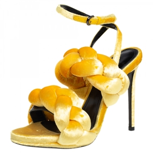 Marco De Vincenzo Sunflower Yellow Velvet Braided Ankle Strap Sandals Size 36.5 - used