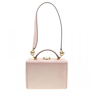 Mark Cross Pink Shimmering Leather Small Grace Box Bag